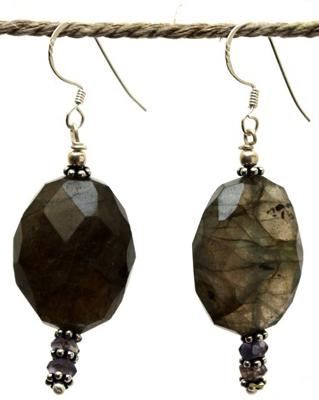 Boucles d'oreilles en argent et pierres